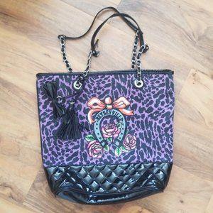 HTF Betsey Johnson Leopard Vintage Betseyville Bag